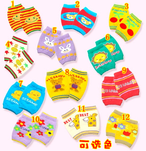 Crawling baby cartoon print baby sets kneepad baby crawling kneepad short elbow set(China (Mainland))