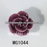 new design hand made hot sale rose flower ceramic knobs handles cabinet pull kitchen cupboard knob kids drawer knobs MG1044
