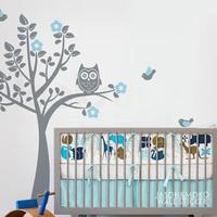 Owl Tree Wall Sticker for your modern nursery - Bird Tree Wall Decal  Children's Room or Baby Nursery  180*180CM  Free shipping