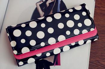 Wallet card case day clutch women's handbag wallet leather long change color block long design multi card holder black