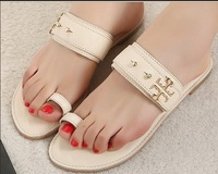 2013 genuine leather designer Women's Summer sandals Female beach flat Flip flops Fashion Brand new slipper shoes Free shipping