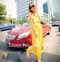 2013 women's lotus leaf collar long pleated skirt Bohemian dress dress chiffon dress
