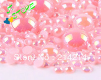 Free Shipping wholesale mixed 800pc Half Round imitation Pearls  mobile phone shell diamond materials Mobile phone beauty DIY