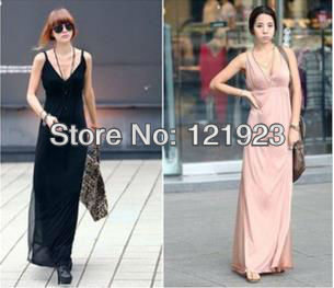 NEW 2013 korean woman gallus dress modal super long montage Sexy v-neck one piece sexy full dress QC0115(China (Mainland))
