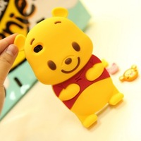 Fashionable Design Cute 3D Bear Silicone Case For Apple iPhone 5 5th Gen, Soft Silicone Case 10pcs/Lot Free Shipping