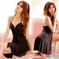Flower rhinestones spaghetti strap nightgown sexy lingerie women sleepwear silky soft set temptation