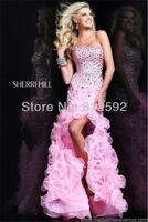 2013 Pink Organza Slit Formal Evening Dress Carpet Pageant Dresses Party Prom Gown Custom Size/Color Wholesale/Retail