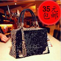 2014 spring fashion fashionable casual bag women's handbag leopard print paillette bag one shoulder bag handbag messenger bag