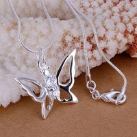 P115 fashion jewelry chains necklace 925 silver pendant The dual inlaid stone butterfly pendant