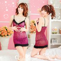 sexy sleepwear style lepoard dress for women js098