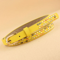 multicolour beads multicolor thin belt fashion all-match candy color belt strap female