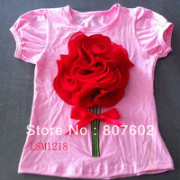 Red Flower shirt,Top quality dress for girls,one piece free shipping