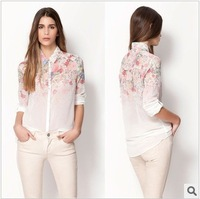 Женские блузки и Рубашки ST1393 New Fashion Ladies' elegant glasses print white blouses stand collar long sleeve Shirt casual slim brand designer tops