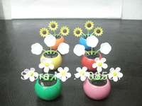 Free Shipping  10Pcs Per Lot  All Flowers Dancing   No Battery No Water Novelty New Style  Solar Gift Solar Toy  Car Decoration
