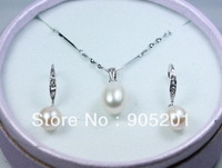 AAAA 8-9 9-10mm oval Cultured Freshwater Pearl Earrings+Pendant 925 Silver Set(1 set)+Wholesale&amp;Retail+Free Shipping