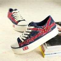New arrival british style low canvas shoes flag denim women's platform