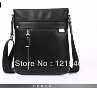 2013 fashion Free Shipping FEGER Genuine Leather men shoulder Messenger Bag fashion business casual bag for man