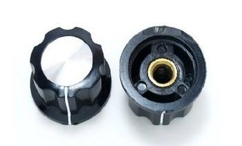 Skirted Knob For Standard Pots Black D 23mm H 14mm Hole Diameter 6mm