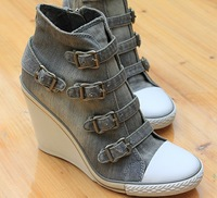 Ash Thelma Wedge Sneakers women's shoes high water wash denim casual slope with metal hasp