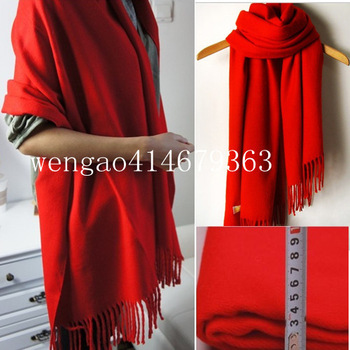 Fashion autumn and winter thermal Australian thick pure wool cashmere scarf bride cape dual red