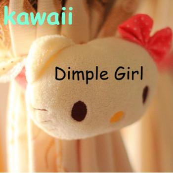 girl room decor cute animal charm fluffy elastic strap polka dot bow plush pink hello kitty head shape curtain buckle band ring