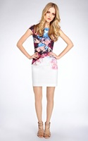 [ANYTIME] Fashion women's 2013 prothorax pressure pleated gradient print dress sexy behind V-neck slim one-piece dress