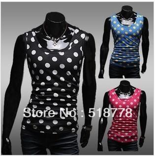2013 Summer Dot Print Sport Vest Men Elastic Mens Sleeveless Shirts ...