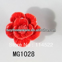 new design hand made hot sale rose flower ceramic knobs handles cabinet pull kitchen cupboard knob kids drawer knobs MG1028