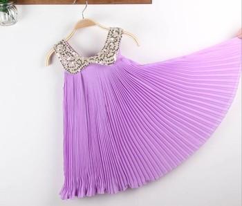 2013 Summer Girls Sequined collar dress,Noble light purple Girls dress Pleated Chiffon Children Fairy Sundress,Kids clothes 5pcs