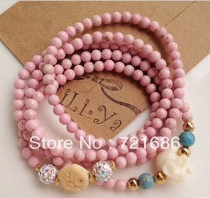 Blessing fish and elephant pink stone bracelet(China (Mainland))