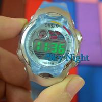 fashion Blue Rubber Ohsen Girls BoysChild Kids Sport Digital Alarm Light  Sport Wrist Watches Gift 0520-2 Light Blue Lovely