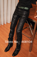 free shipping Fashion male slim leather pants male fashionable casual patchwork leather pants men's tights skinny pants