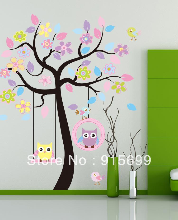 florido de árbol búho extraíbles de la pared calcomanía etiqueta ...