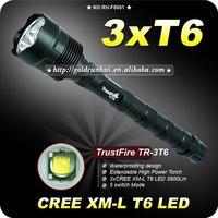 1PC Trustfire 3T6 Flashlight 5 Mode 3800 Lumens 3x CREE XM-L XML T6 LED Flashlight18650 Battery Extendable High Power Torch