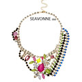Freeshopping 2013 Fashion vintage luxury Colourful flowers Irregular Crystal choker Necklace bib statement jewelry steampunk