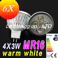 6x Hot Selling Dimmable High power MR16 4X3W 12W LED Lamp Spotlight downlight lamp 12V Free shipping