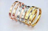 hot sell women men lover style screw bracelet titanium steel bracelet bangle gold /rose gold /silver with diamond free shipping