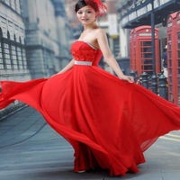 Flower circle red charm of quality wedding dress formal dress banquet evening dress formal dress y for 501 3