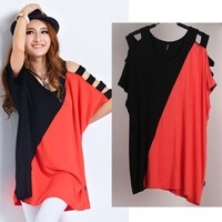 Loose t-shirt female fashion summer short-sleeve mm plus size color block decoration 100% cotton t t shirt
