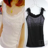 **FREE SHIPPPING**Hot-selling rhinestones lace decoration vest small vest thread basic shirt