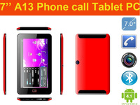 7'' A13 2G phone call aluminum tablet PC with Android 4.0 Full function 1.2GHz/512MB ram/4GB ROM  Bluetooth Dual Camera