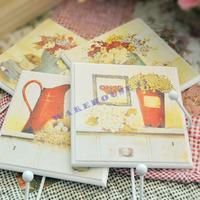Free shipping!home decor 4 pieces/lot  European-style garden Korean Wooden square Coat hooks Fashion decoration
