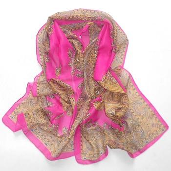Free shipping silk fashion women's female design long scarf vintage print scarves SC0169