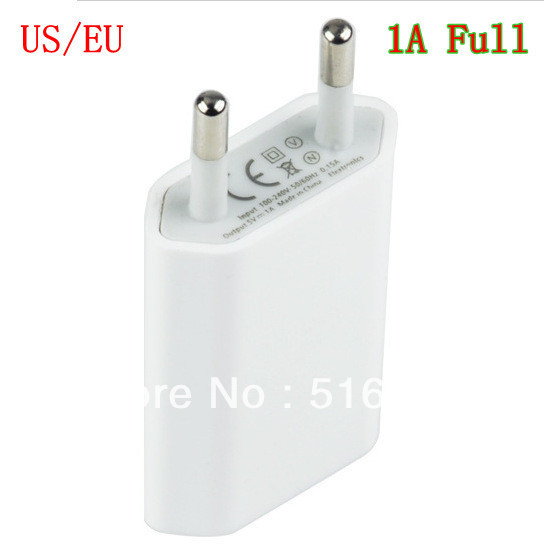 High quality 200pcs/lot Factory price EU/us Plug 5V 1A Full AC Power USB Wall Charger For iPhone 5 4 4S 3GS iPod Free Shipping(China (Mainland))