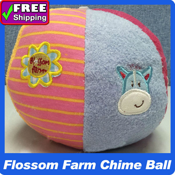 5pcs/lot wholesale in stock ! New ELC Blossom Farm Chime Ball Soft Fabric Developmental Baby/kid Toys Rattles & Mobiles(China (Mainland))