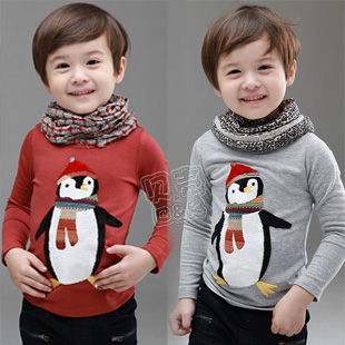 2013 spring penguin boys clothing girls clothing baby child long-sleeve T-shirt tx-1516 basic shirt(China (Mainland))