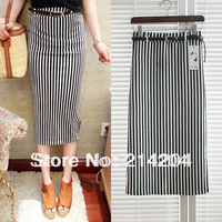 Newest 2013 spring and summer women's vertical stripe slim hip bust skirt basic medium-long skirt free strap sashes