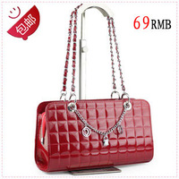 2013 one shoulder cross-body chain girls plaid candy color small bags