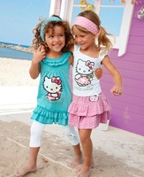 QZ-281,Free Shipping!2013 Hot sell baby dress Hello Kitty girl suit 3pcs 2 colors summer child clothing set Wholesale And Retail