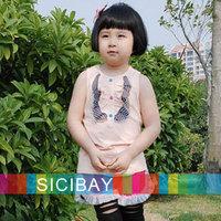 Free Shipping Kids Vest Little Girl Summer  Tops Casual Wear,95% Cotton 5% Spandex K0142